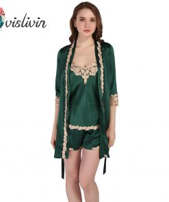 Vislivin Summer Nightwear Women's Sexy Lingerie Lace Sling Shorts Robe Pajama Sets Fashion Sleepwear Plus Size Nightwear