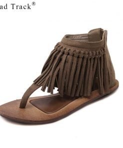 Road Track 2018 Summer Women Platform Sandals Gladiator Fringe Solid Zip Cover Heel Retro Style Open Toe Shoes XWA1130-5
