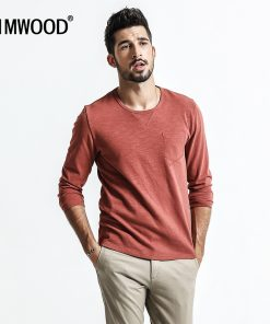SIMWOOD Long Sleeve T Shirt Men Slim Fit 100% Cotton 2018 spring  New Fashion Causal Tops Fashion Pullovers Plus Size TC017008