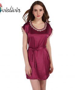 Vislivin Women Lace Nightwear Sleep Shirt 2017 Popular Summer Style Round Neck Soft Faux Silk Straps Dress Homewear Night Gown 1