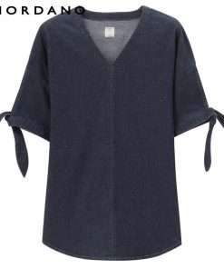 Giordano Women Blouse Denim V Neck Stretchy Denim Shirt Bands Cuffs Retro Style Fashionable Lady Blusa Feminina Shirt Women 1