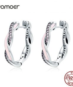 BAMOER Authentic 100% 925 Sterling Silver Pink & Clear CZ Twist Of Fate Hoop Earrings for Women Fashion Earrings Jewelry SCE297