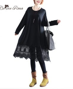 BelineRosa 2017 Black Dresses Women Lace Hollow Out Design Hem Pure Color Basic Clothes Pure Color Plus Size Dresses HS000387