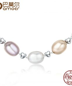 BAMOER New Collection Genuine 925 Sterling Silver Love Friendship Family Fresh Water Pearl Necklace Jewelry Bijoux SCN075