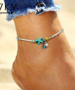 17KM Shell Anklet Beads Starfish Anklets For Women 2017 Fashion Vintage Handmade Sandal Statement Bracelet Foot Boho Jewelry