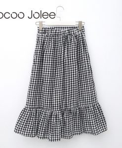 Jocoo Jolee England-Style Plaid Skirt for Women Fashion Asymmetrical Skirt with Ruffles Hem Front Button Skirt 2018 Spring New 1