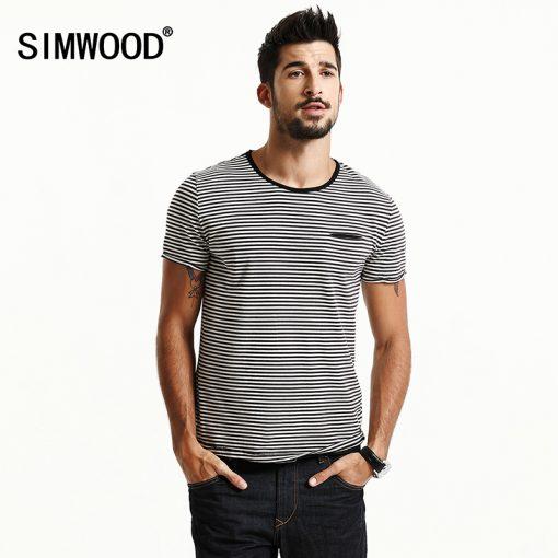 SIMWOOD 2018 Spring  Summer Short Sleeve T Shirts Men Striped  Fashion Tees Slim Fit Plus Size Breton Top TD1167
