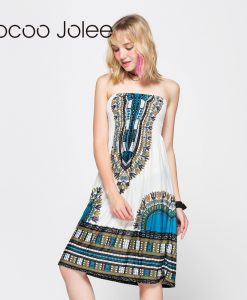 Jocoo Jolee Women Knee Length Dresses Sexy Strapless Backless Bohemian Dress Ethnic Printing Ladies Summer Dress 1