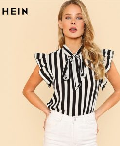 SHEIN Summer Top Elegant Work Women Blouses Cap Sleeve Black and White Tie Neck Butterfly Sleeve Striped Blouse 1