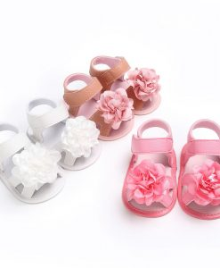 New flower style pu leather Baby moccasins child Summer girls fashion sandals Sneakers baby shoes 0-18 M baby sandals 1