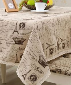 GIANTEX Crown Pattern Decorative Table Cloth Cotton Linen Lace Tablecloth Dining Table Cover For Kitchen Home Decor U1233 1
