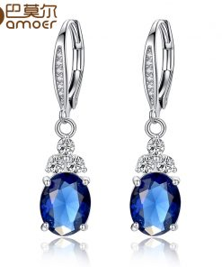 New Authentic White & Blue Crystal Anti-allergic Environmentally Fashion Copper Zircon Jewelry Drop Earring YIE096 1