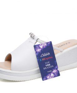 O16U Women Slipper Sandals Heels Wedges Platform Leather Peep toe Crystal Elegant Female Sandals Ladies Mules clogs Summer Shoes 1