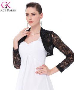 Long Sleeve Lace Bolero Wedding Accessories Plus Size Jacket Bridal Wraps Elegant Wedding Shawl Shrug Accessories 1