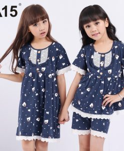 A15 Brand Sleeping Suit Toddler Girls Clothes Kids Summer Nightwear Cartoon Lace Sleepwear Set 3 6 8 10 12 14 Year Teens Pajamas 1