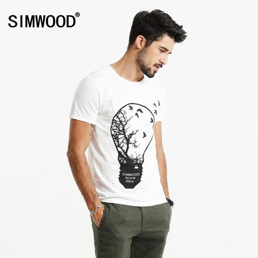 SIMWOOD 2018 T Shirt Men Originality Design light Bulb Environmental protection Tops 100% Pure Cotton O neck Slim Fit TD017016