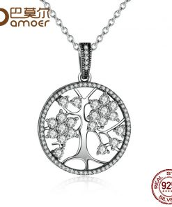 The Christmas DEALS Classic 925 Sterling Silver Tree of Life Round Pendant Necklaces for Women Fine Jewelry PSN013