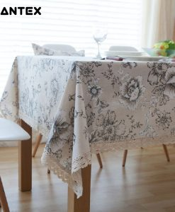 GIANTEX Retro Floral Print Decorative Table Cloth Cotton Linen Lace Tablecloth Dining Table Cover For Kitchen Home Decor U1000