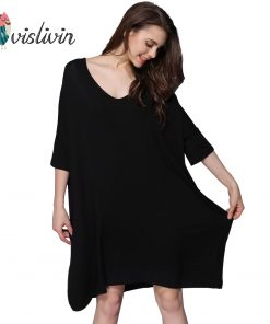 Vislivin Women Lncrease Size Cotton Nightgowns Sleepshirts Summer Home Dress Sleepwear Loose Comfortable Nightdress Clothing 1