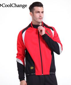 CoolChange Winter Fleece Thermal Cycling Jersey Bicycle Windproof Jacket Outdoor Riding Bike Jersey Sportswear Long Sleeve Coat 1