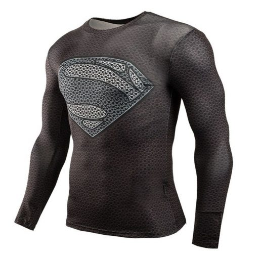Hot Sale Fitness MMA Compression Shirt Men Anime Bodybuilding Long Sleeve Crossfit 3D Superman Punisher T Shirt Tops Tees 3