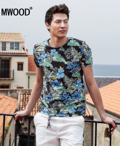 SIMWOOD 2018 Summer New Hawaiian  T shirts Men Short Sleeve Print  O neck Slim Fit 100% Pure Cotton Tees Plus Size  TD1181