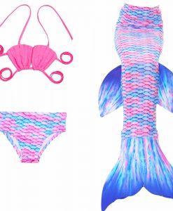 2017 fashion new Mermaid 3pcs Set Tops Bottoms Mermaid Tail For Swimming Children Girls Summer Swimming Dress Bikinis Bathing 1