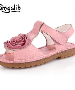 Smgslib Summer Girls Genuine leather Sandals princess flower soft bottom shoes casual Sandals princess kids Beach flat Shoes