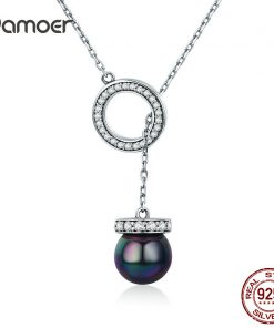BAMOER 100% 925 Sterling Silver Circle Black Imitation Pearl Elegant Long Chain Women Pendant Necklace Silver Jewelry SCN200