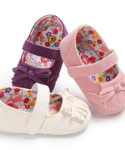 Mary Jane Ballet Dress Baby Toddler First Walkers Crib Floral Soft Soled Anti-Slip Shoes Infant Newborn Girls Princess Shoes 1