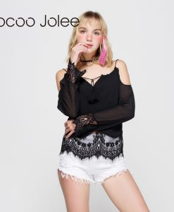 Jocoo Jolee Chiffon & Lace Sexy Strap Hollow Out Design Off Shoulder Strap Tassels With Long Sleeves Female Summer