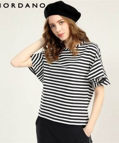 Giordano Women T Shirt Loose Style Ribbed Crewneck Ruffle Sleeves Tee Side Vent Solid Stripe Women Tshirt Camiseta Feminina