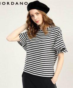Giordano Women T Shirt Loose Style Ribbed Crewneck Ruffle Sleeves Tee Side Vent Solid Stripe Women Tshirt Camiseta Feminina