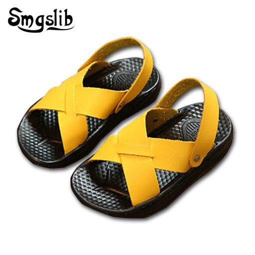 Smgslib Summer Gladiator Sandals children Leather Flat Fashion boys girls Shoes Breathable Flats shoes kids summer sandals