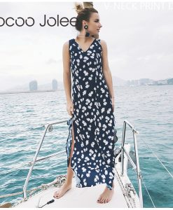 Jocoo Jolee Floral Sprint Long Beach Dress for Women Sexy Hip Split Design with V-Neck 2018 Summer New Vest Tops Womem Dress   1