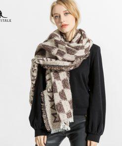 Scarves Women'S Scarf Chiffon Hijab Fashionable Winter Warm Silk Luxury Brand Cashmere Plaid Pashmina For Dress Luxury Brand