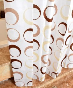 GIANTEX Circle Pattern Polyester Bathroom Waterproof Shower Curtains With Plastic Hooks U1089 1