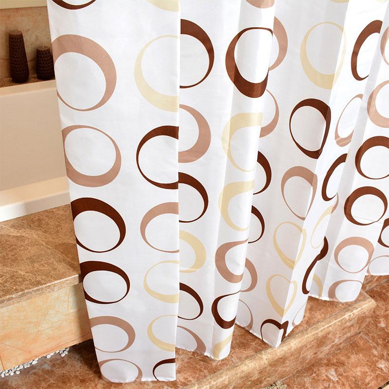GIANTEX Circle Pattern Polyester Bathroom Waterproof Shower Curtains With Plastic Hooks U1089 1