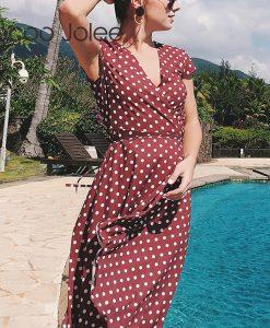 Jocoo Jolee V Collar Polka Dot Sexy Women Dress Short Sleeve Loose Knee Dress Holiday High Waist Beach Dress Summer Dress  2018  1