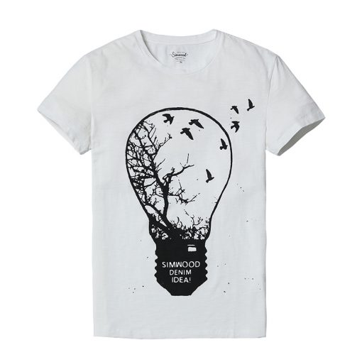 SIMWOOD 2018 T Shirt Men Originality Design light Bulb Environmental protection Tops 100% Pure Cotton O neck Slim Fit TD017016 5