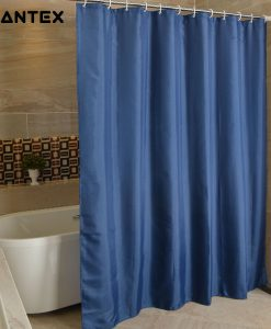 GIANTEX NavyBlue Polyester Bathroom Waterproof Shower Curtains With Plastic Hooks U1263