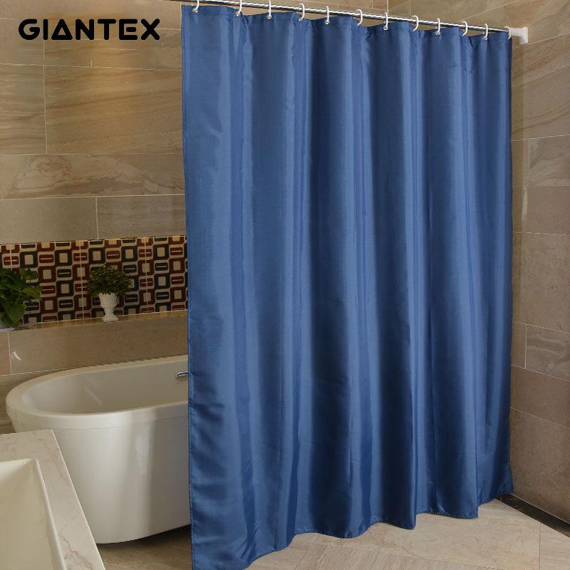GIANTEX NavyBlue Polyester Bathroom Waterproof Shower Curtains With Plastic Hooks U1263