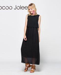 Jocoo Jolee Women Elegant Chiffon Long Dress Floor-Length Empire Dress Ladies Bohemian Style Sleeveless Dress 1