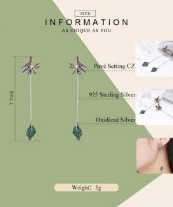 BAMOER  925 Sterling Silver Strelitzia Flower Petal & Leaves Long Chain Drop Earrings for Women Party Earrings Jewelry SCE299 1