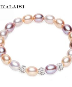 YIKALAISI 2017 fashion Charm Bracelet Pearl Jewelry Natural Freshwater Pearl Crystal Balls Drop Water Pearl Bracelet For Women