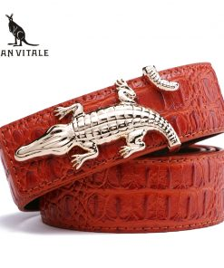 Men's Belts for Business Man Strap Cow Split Leather Crocodile Belt Good High Quality New Designer Buckles Gifts for Male Jeans 1