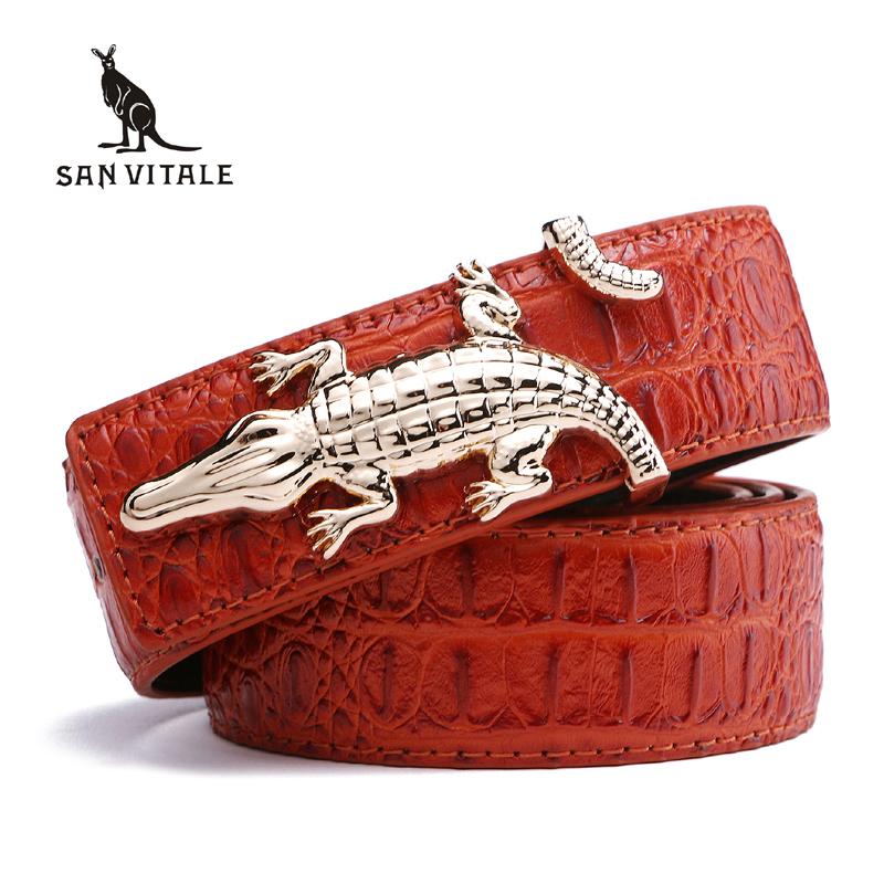 Men's Belts for Business Man Strap Cow Split Leather Crocodile Belt Good High Quality New Designer Buckles Gifts for Male Jeans 1
