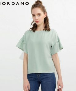 Giordano Women T-shirt Butterfly Sleeve Tee Crewneck Loose Cutting T Shirt Women Solid Design Tops Camiseta Feminina