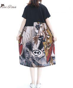 BelineRosa 2018 Women's Summer T-shirt Dresses European Casual Style Cotton Linen Women Clothing Short Sleeve T-shirts QY000031 1