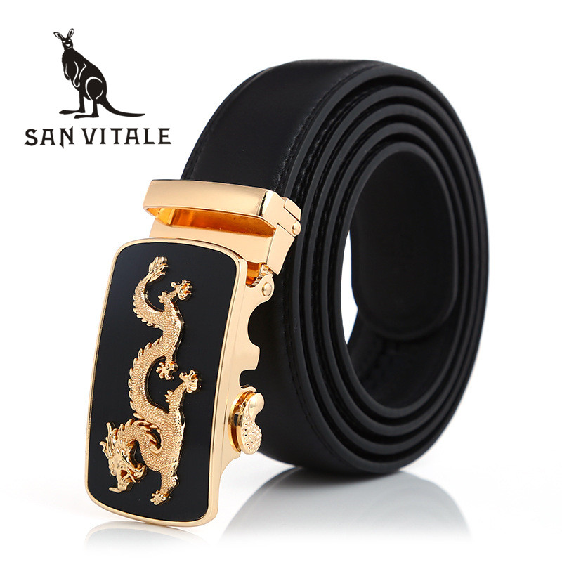 Belts Mens Belt Genuine Leather Fashion Strap For Jeans Man Cowskin Black Stretch Buckles For Suit Luxury Brand Ratchet Buckle